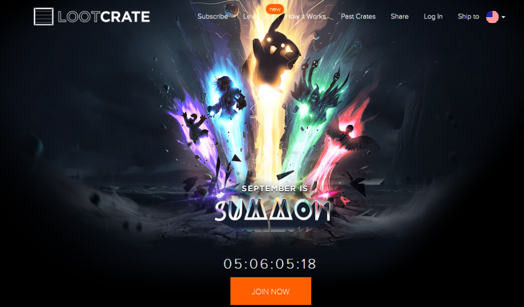 loot crate landing page
